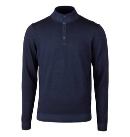 Stenstroms Navy Blue Garment Dyed Mock Neck