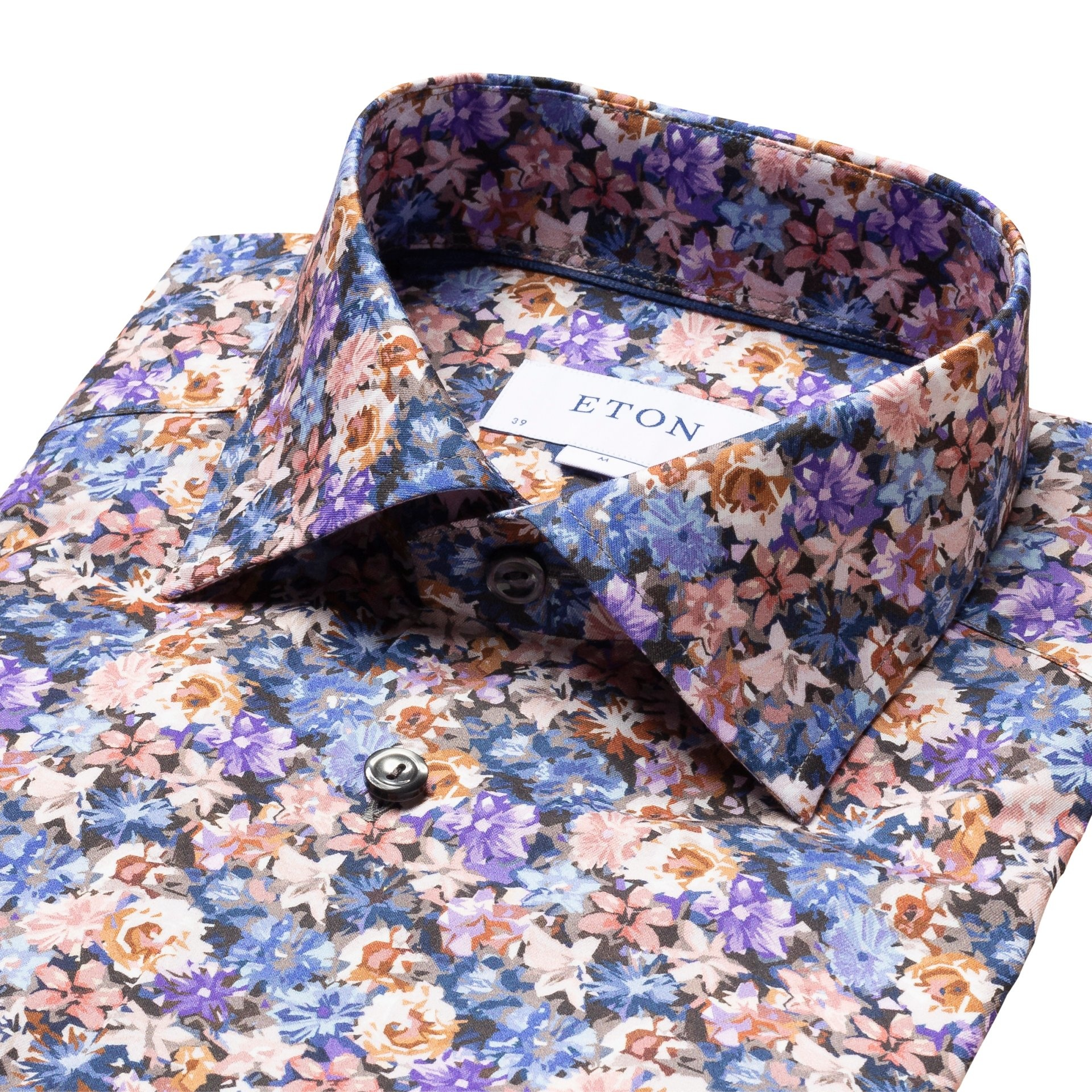 Eton Purple flower twill shirt