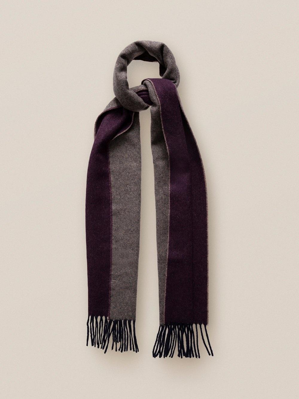 Eton Burgundy Wool scarf navy trim