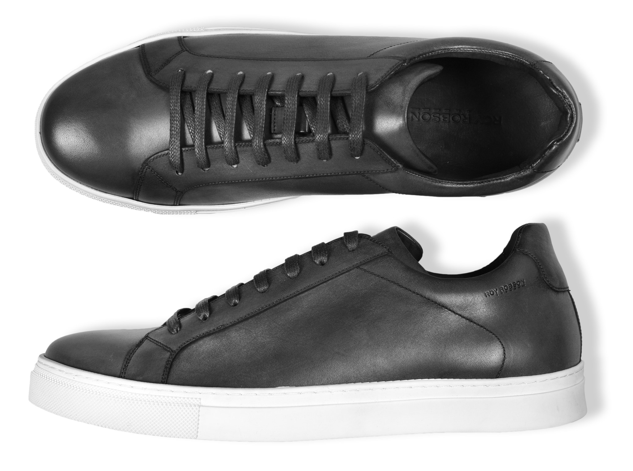 Roy Robson Hand Coloured Leather Sneaker - Black
