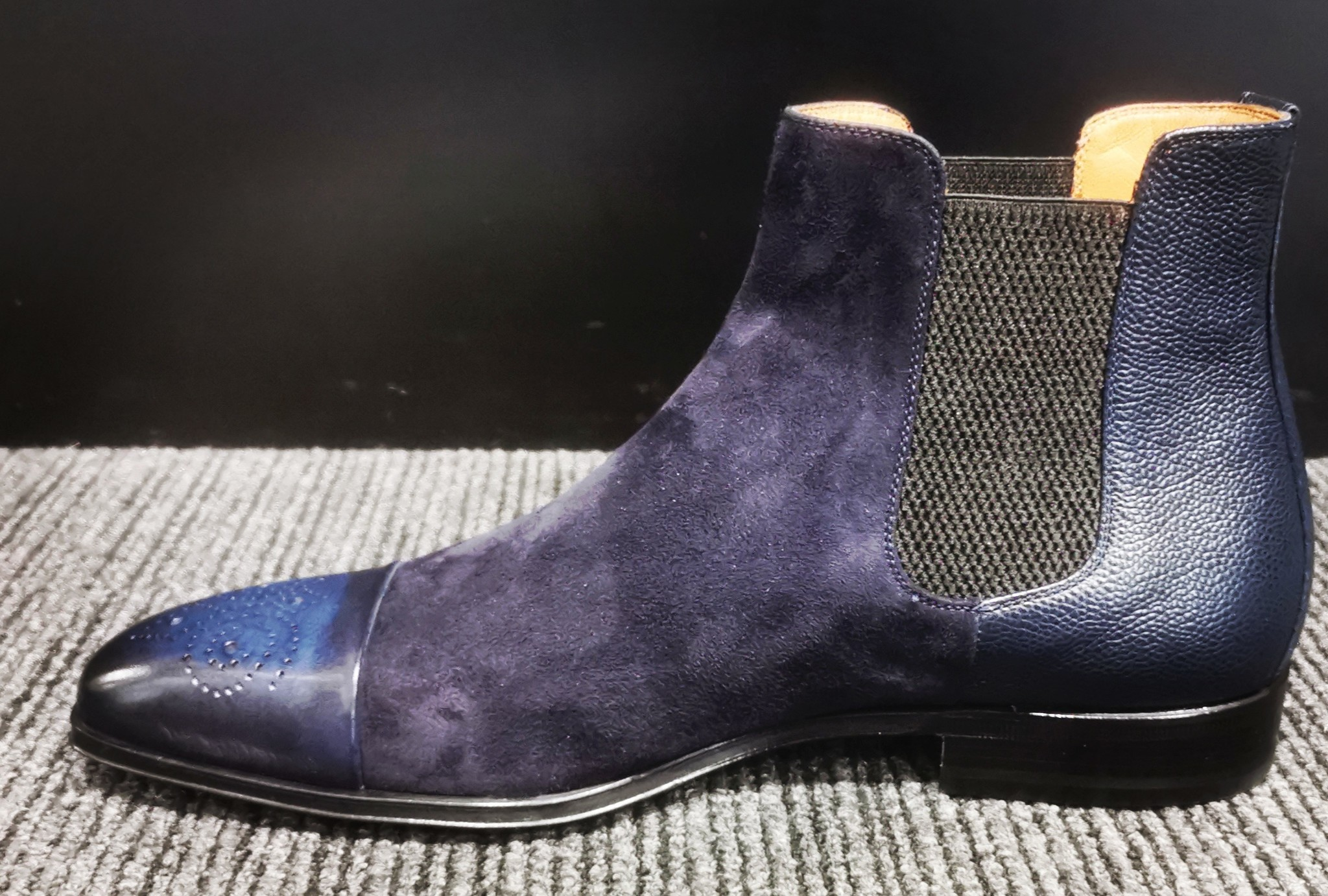 Stemar Navy Suede/Leather Chelsea Boot