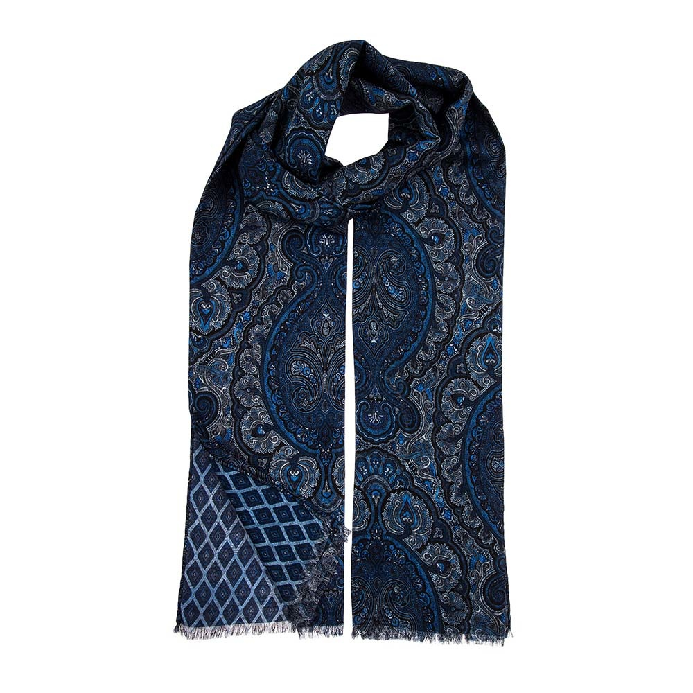 Double Print Wool/Silk Scarf