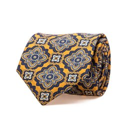 Yellow Rich Floral Medallion Motif Printed Twill Silk Tie