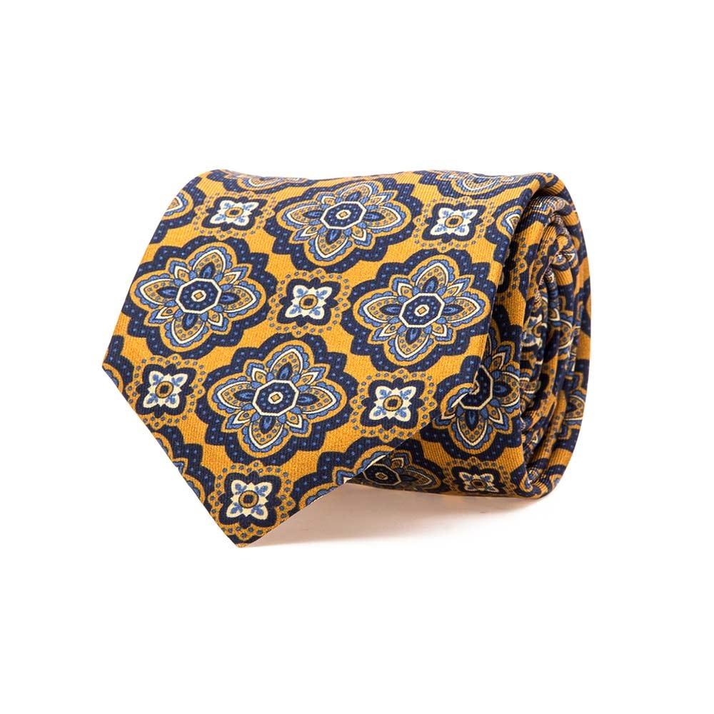 Yellow Rich Floral Medallion Motif Printed Twill Silk Tie