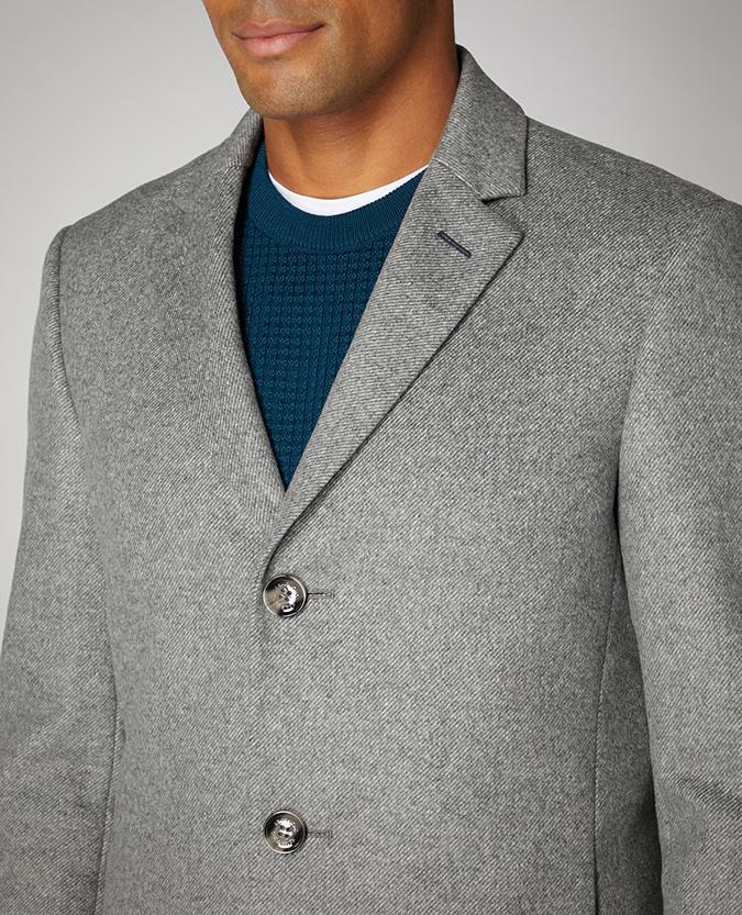 Remus Uomo Wool Rich Town Coat - Light Grey