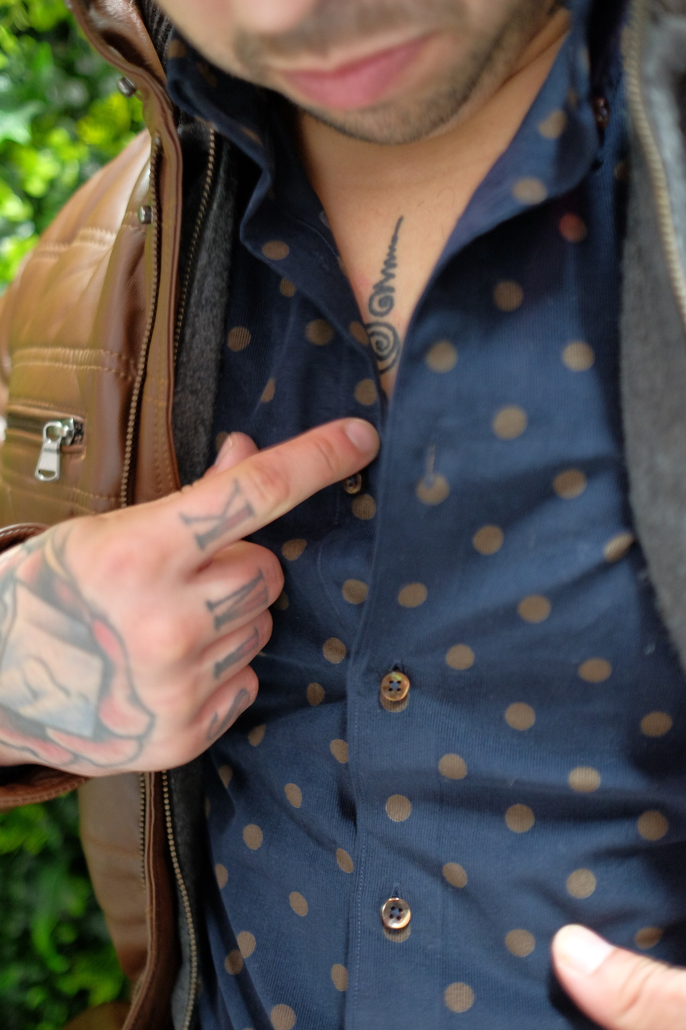Stenstroms Luxury Cord shirt with toffee polka dot