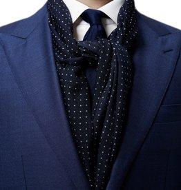 Eton Navy Dot Wool and Silk Scarf