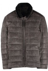 Torras Padded Silk Corduroy Jacket with leather detail
