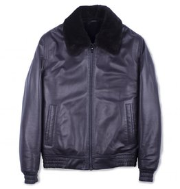 Torras Navy Blue Mouton Leather Jacket with Merinillo collar