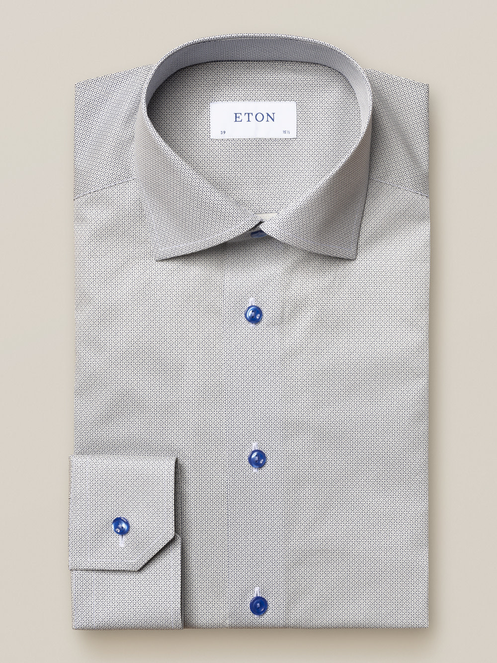 Eton Blue Micro Pattern fine twill shirt