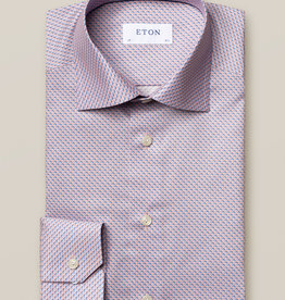 Eton Luxury Pink/Blue Geometric Twill shirt