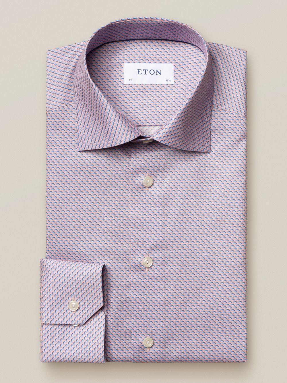 Eton Luxury Pink/Blue Geometric Twill shirt