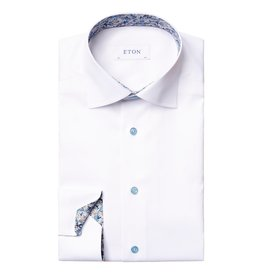 Eton White Twill with floral daisy trim