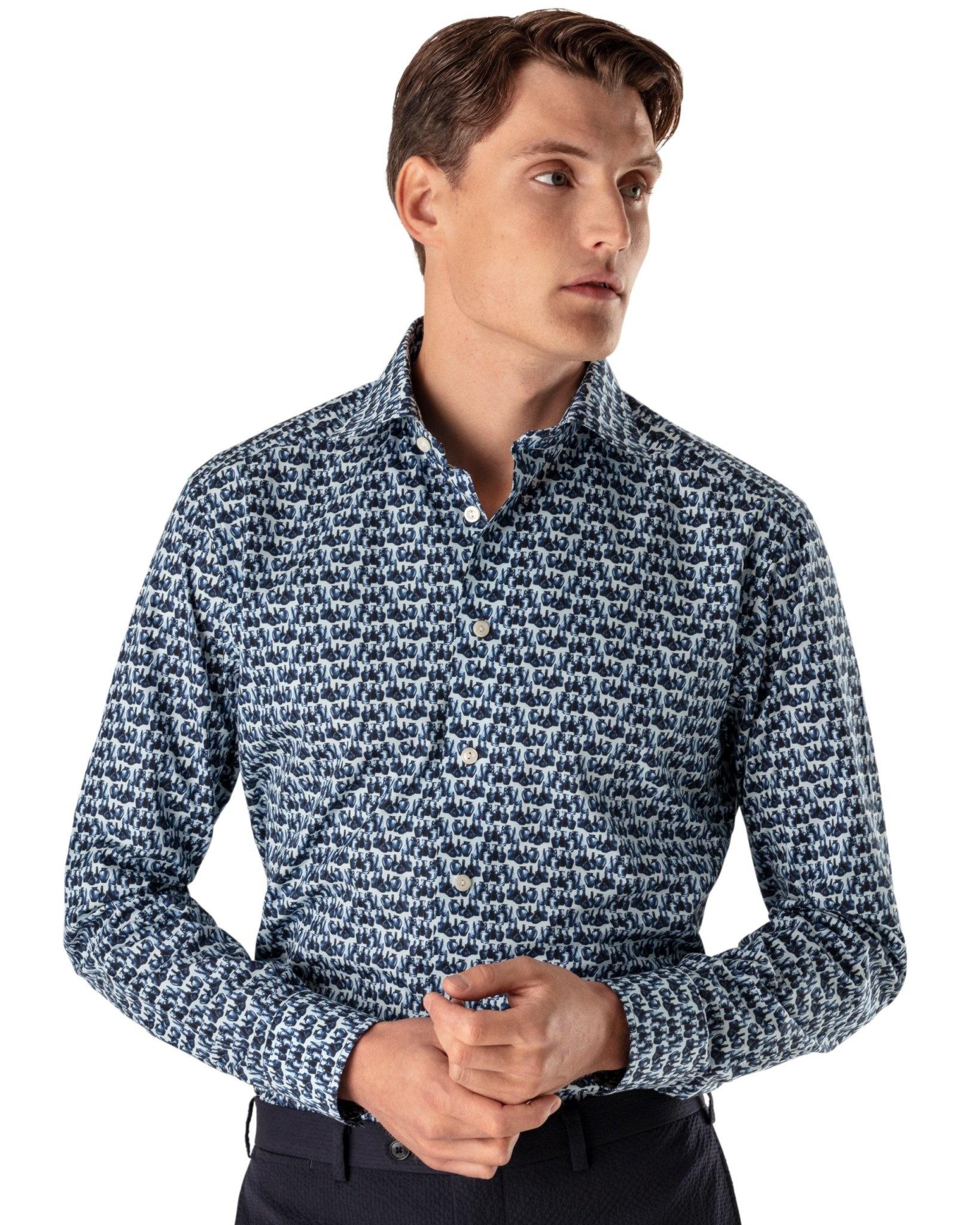 Eton Blue Fine Twill shirt - The Glass Print