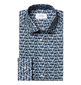Eton Blue Fine Twill shirt - The Glass Print