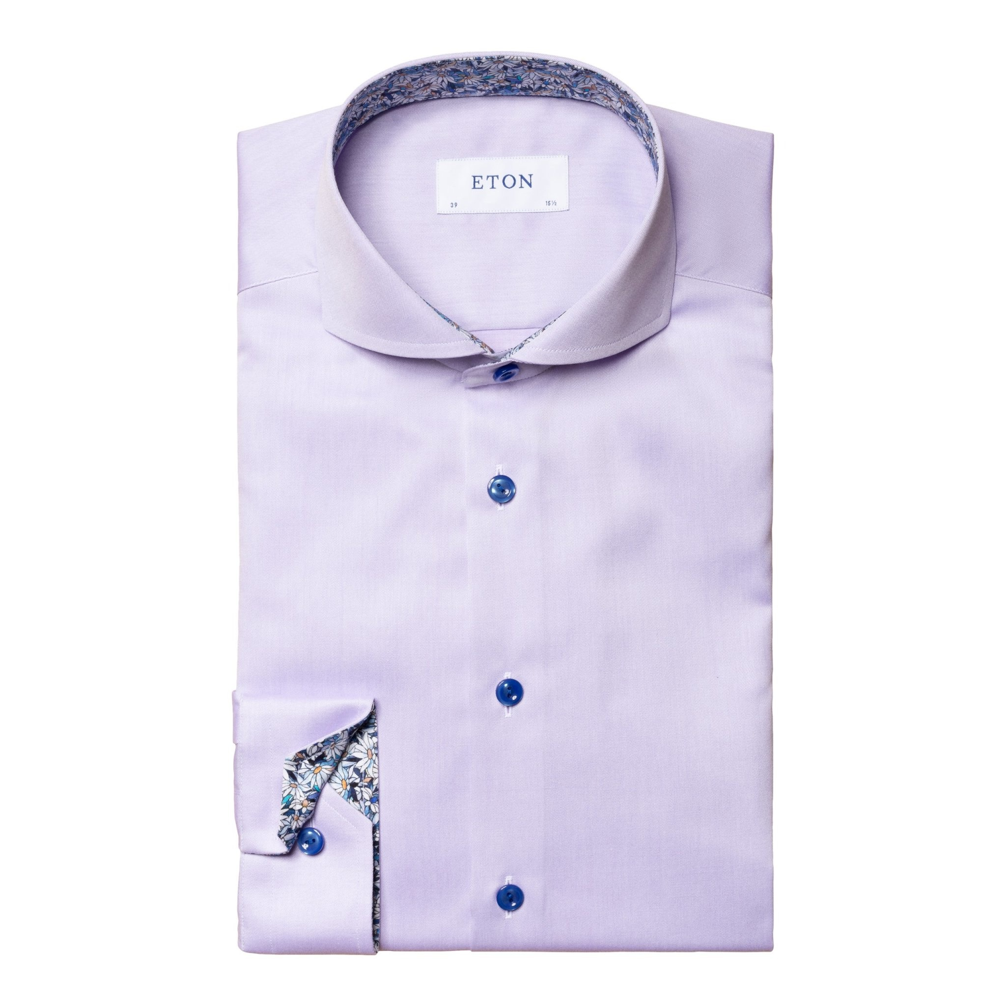 Eton Signature Twill with floral daisy trim - Violet