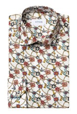 Eton Red Flowers & Cord Print Shirt