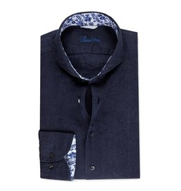 Stenstroms Navy Linen shirt with floral detail - Fitted Body
