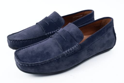 Roy Robson Navy Suede moccasin