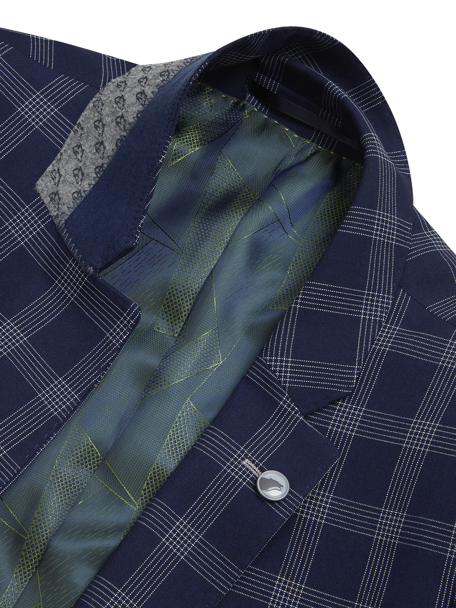 Remus Uomo Navy Blue 3 piece suit with check jacket