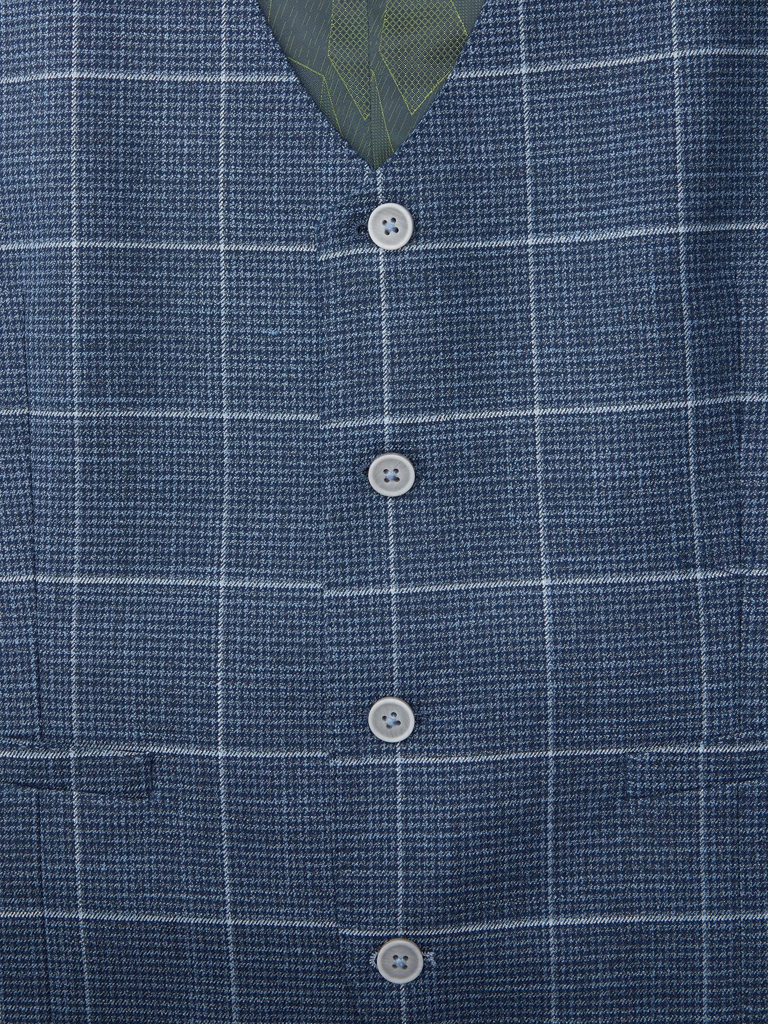 Remus Uomo Blue Window pane check waistcoat