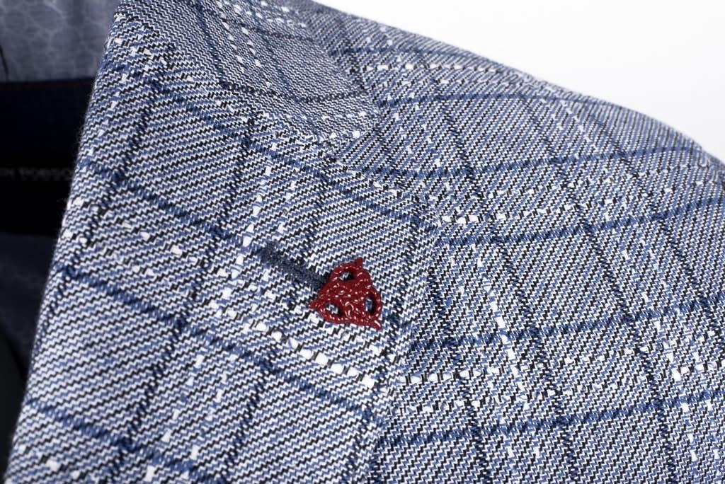 Roy Robson Light Blue Grid Check cotton/linen Jacket