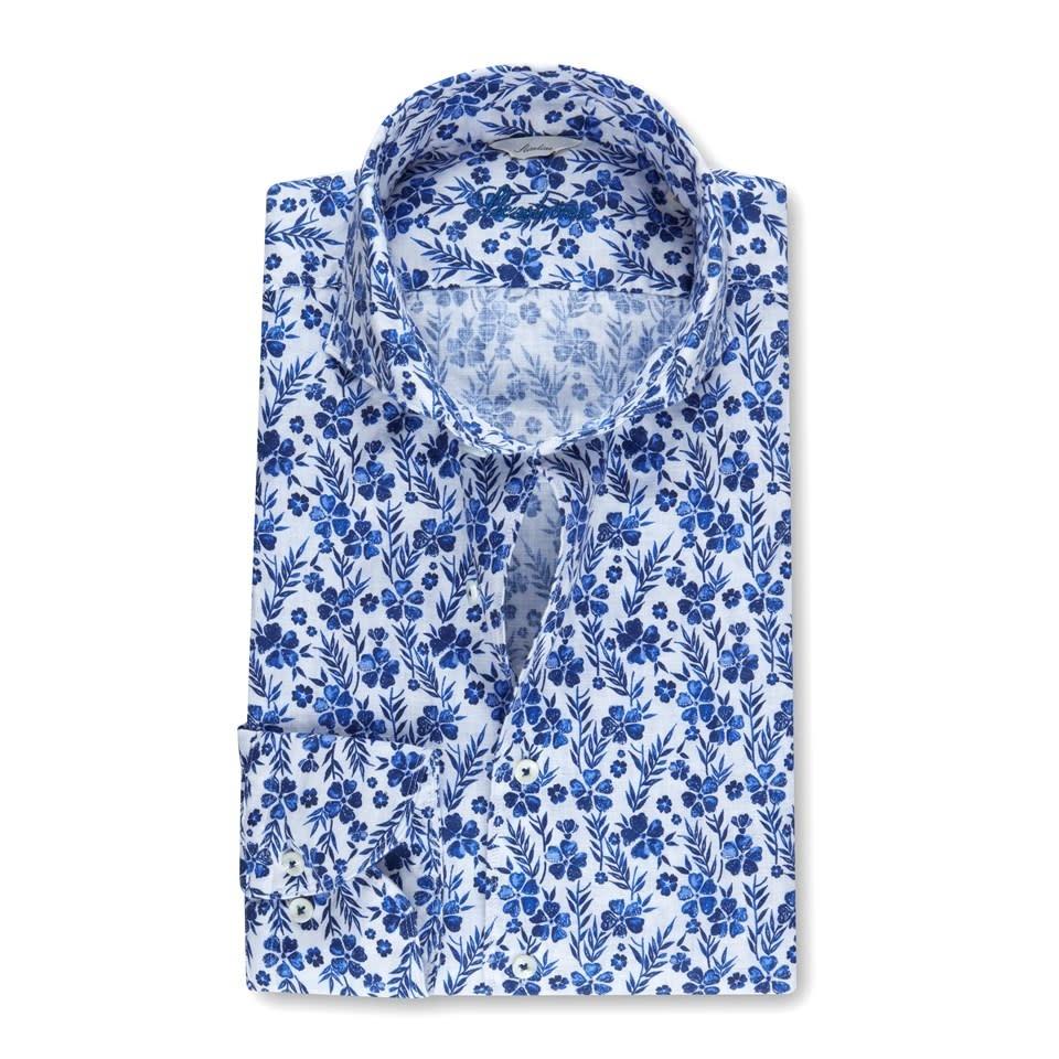 Stenstroms Blue Floral Linen shirt - Fitted Body