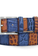 Robert Charles Tan/Blue Patchwork Leather Jean belt