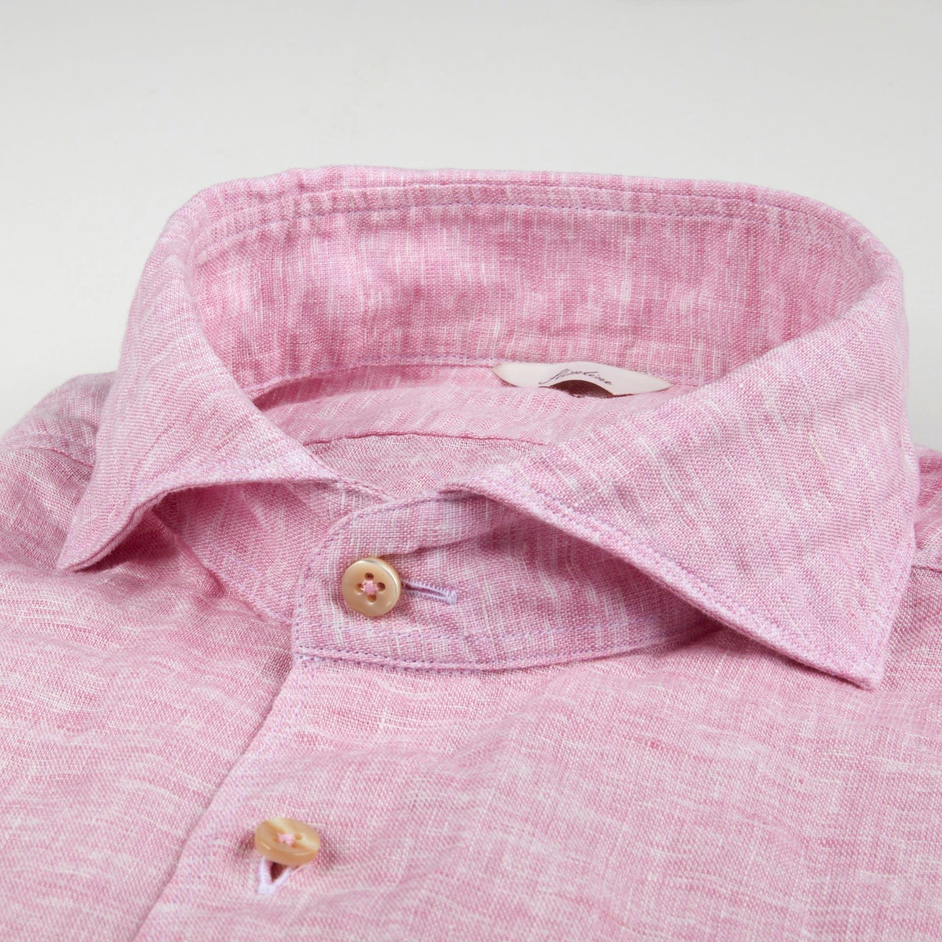 Stenstroms Pink linen cut away collar - Slim