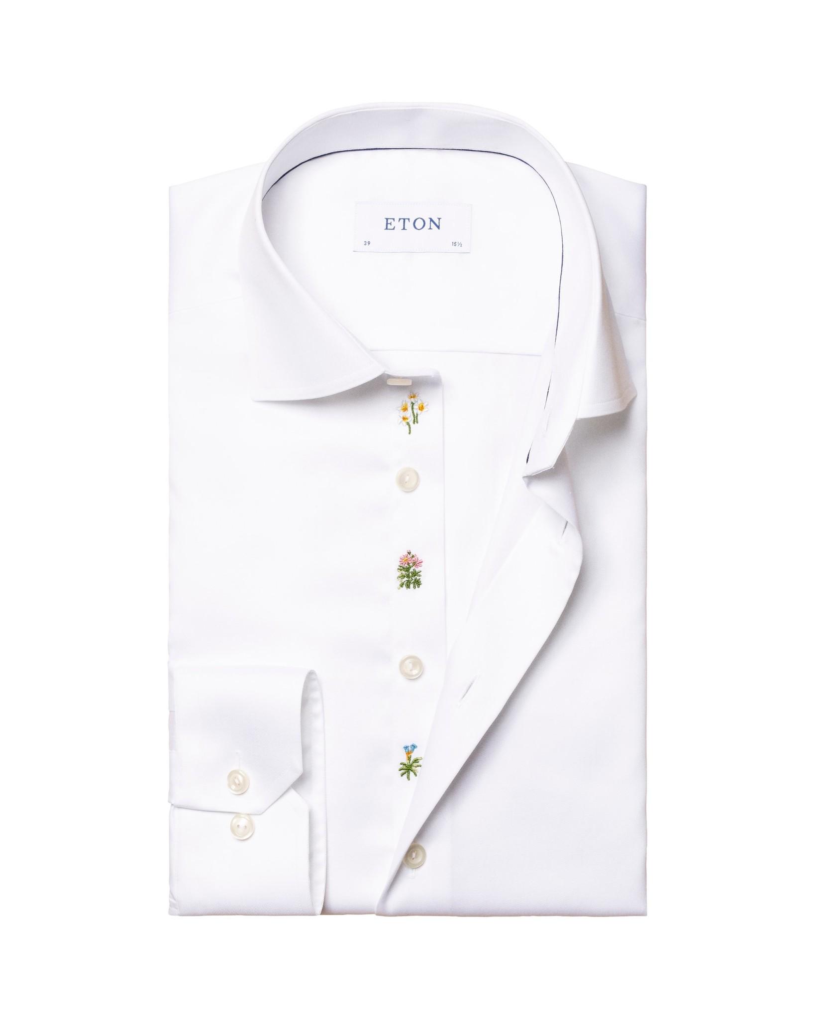 Eton White Twill flower embroidery slim