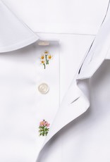 Eton Twill white flower embroidery