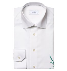 Eton Signature White Twill with Blue Bell print