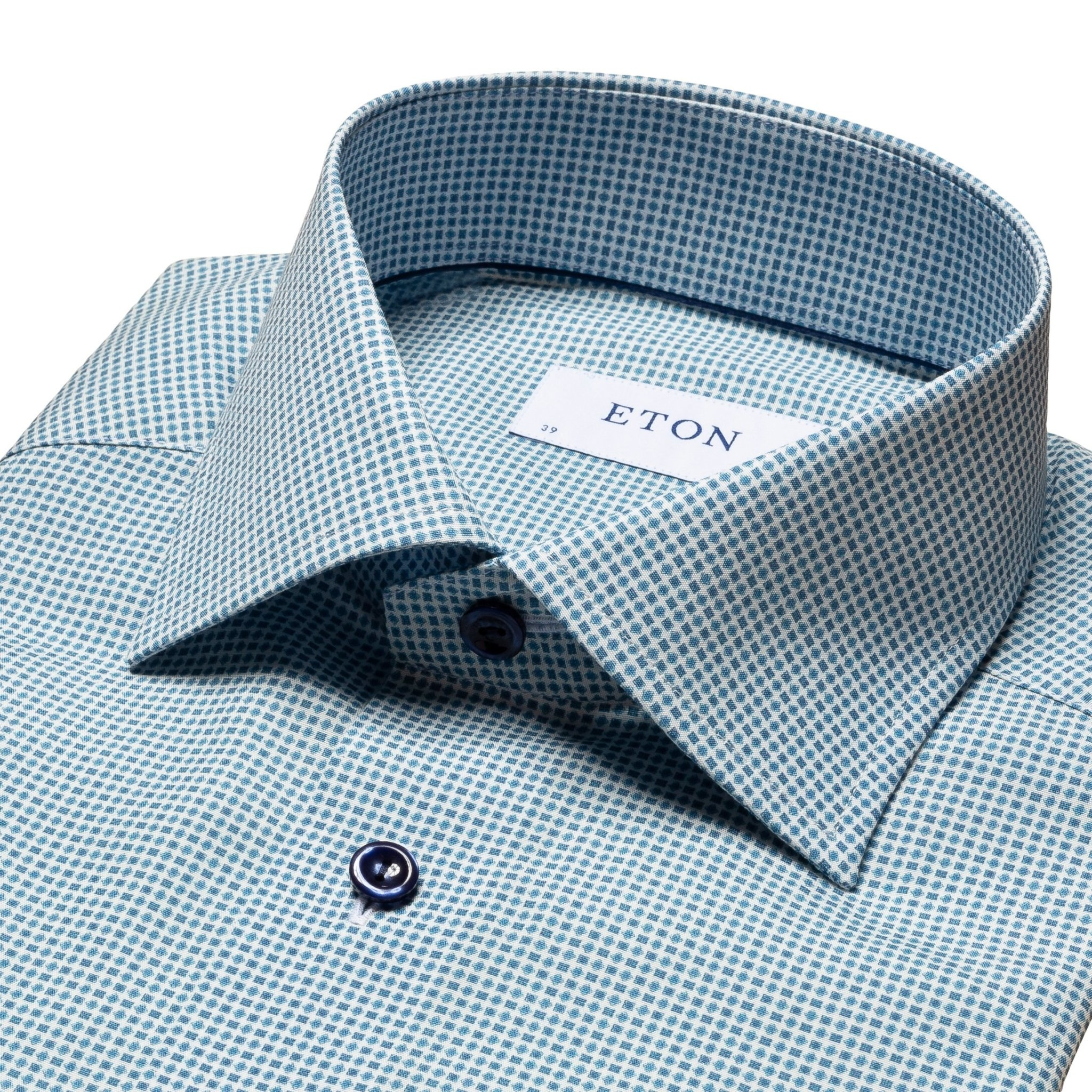 Eton Geometric Poplin with Blue Button