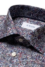 Eton Signature Twill with red/blue paisley print - Slim