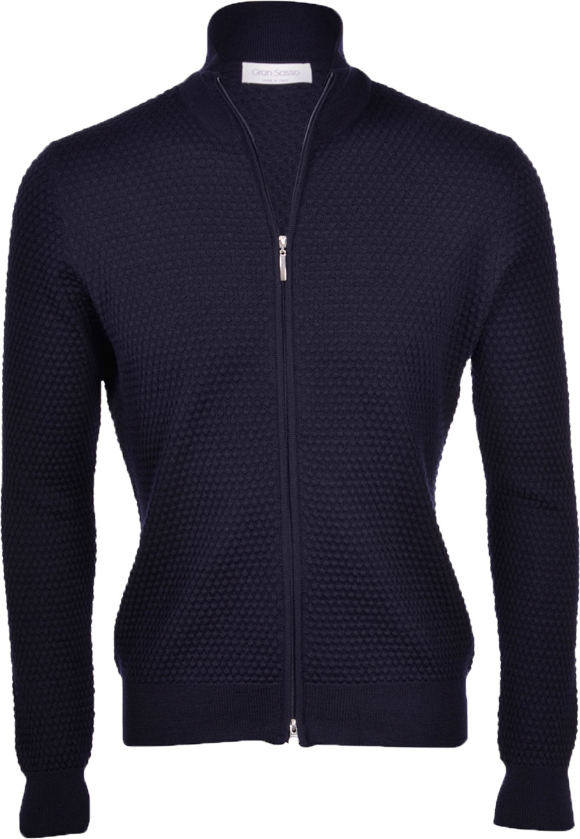 Gran Sasso Blue dot full zip cardigan