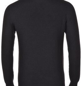 Gran Sasso Black ribbed rain wool