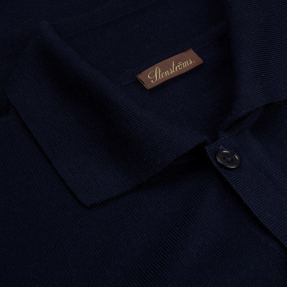 Stenstroms Navy merino cardigan with collar