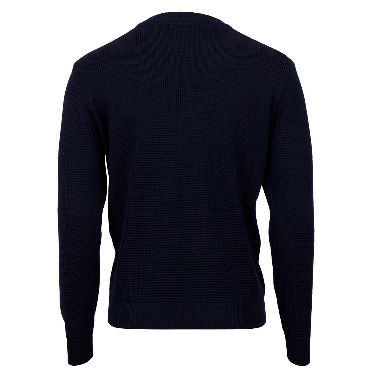 Stenstroms Textured Dye Crew Neck Navy blue