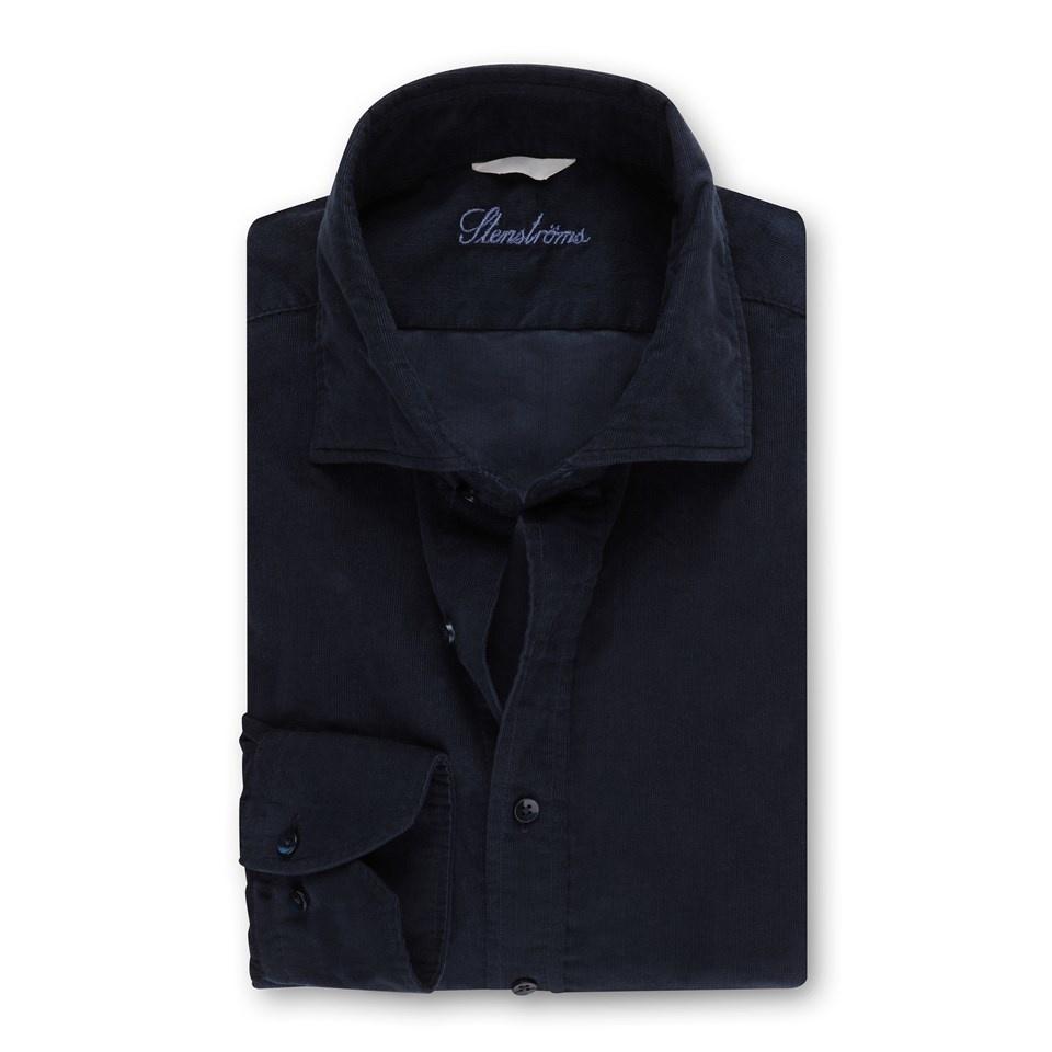 Stenstroms Navy Baby needle cord shirt