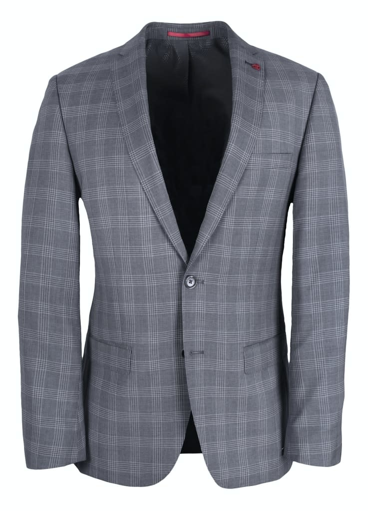 Roy Robson Charcoal Prince Of Wales slim fit 3 piece