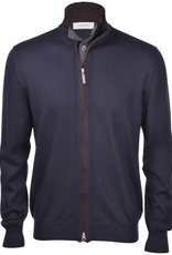 Gran Sasso Navy wool cardigan with brown trim