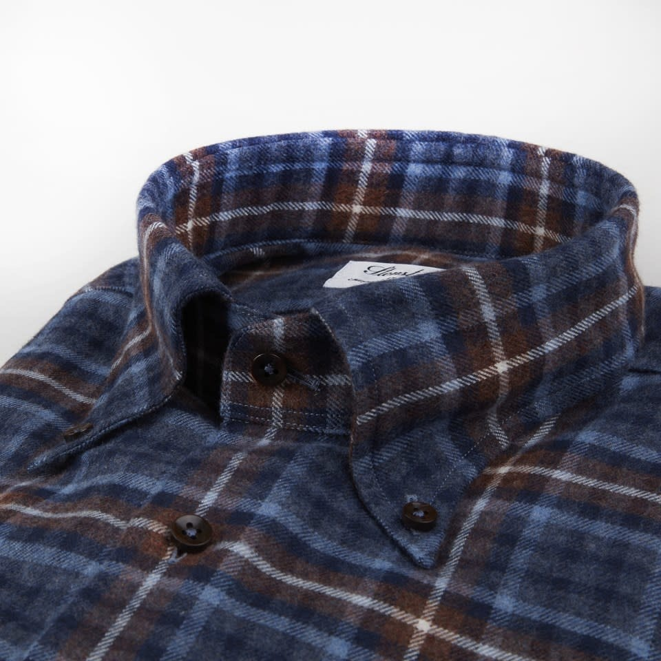 Stenstroms Fitted Body Checked Flannel Shirt