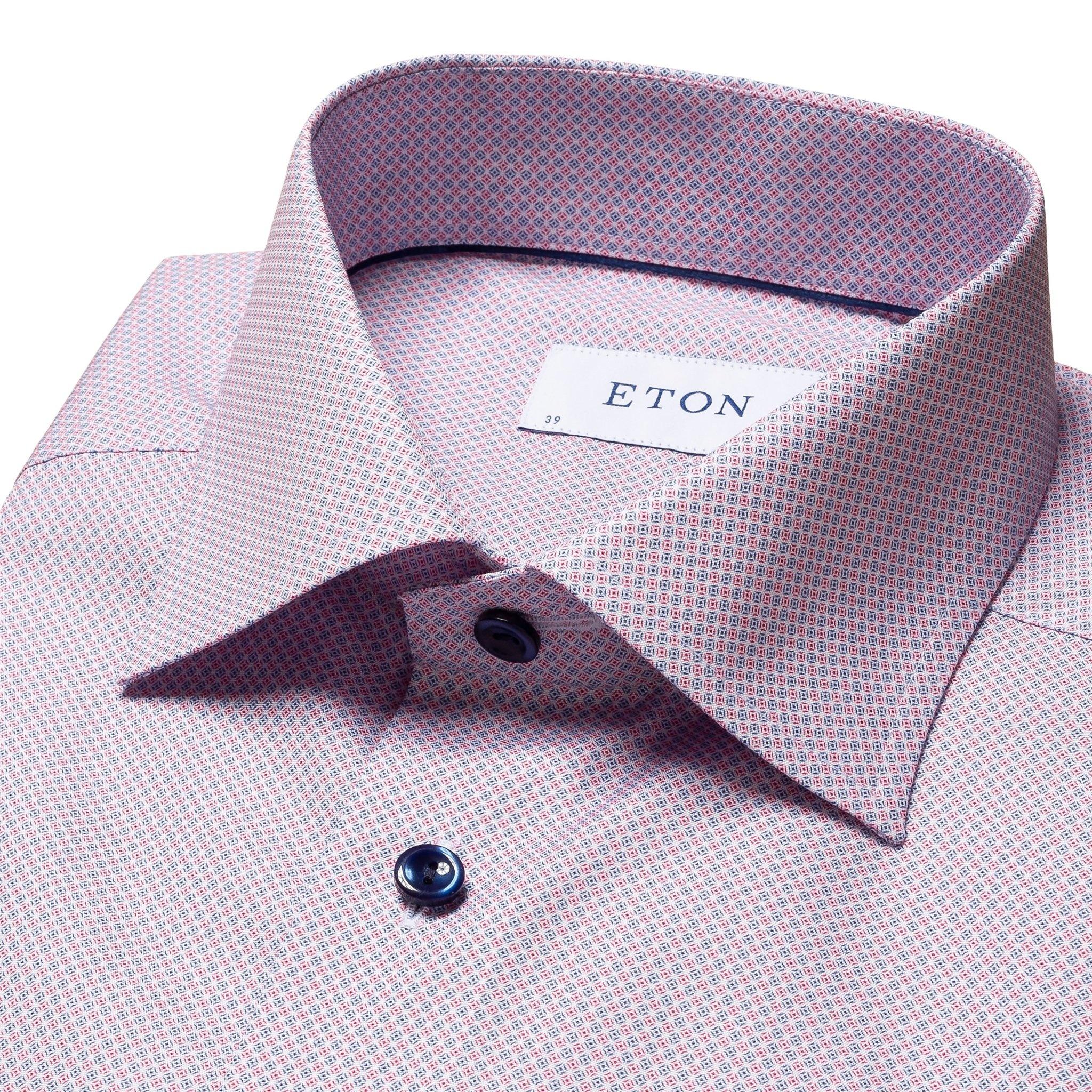 Eton Pink/Navy Print with navy button