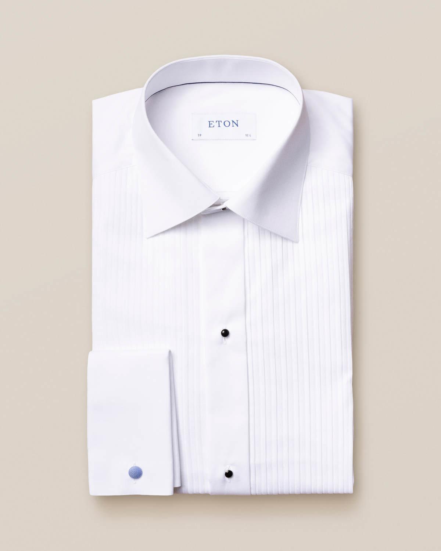 Eton White Plissé Tuxedo Shirt