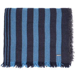 Roy Robson Stripe Wool Scarf - Navy/Baby Blue