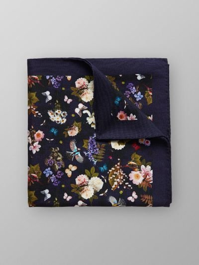 Eton Navy Floral Pocket Cotton & Silk Pocket Square