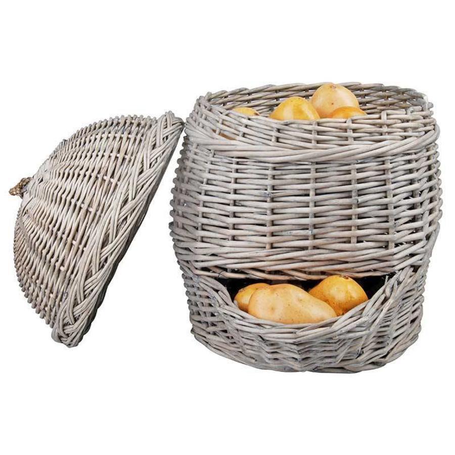 Esschert Design Grijze aardappelmand van wilgenhout