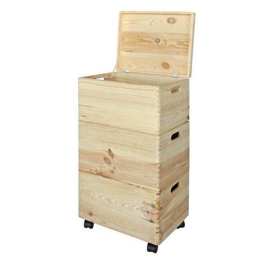 3 houten opbergkisten