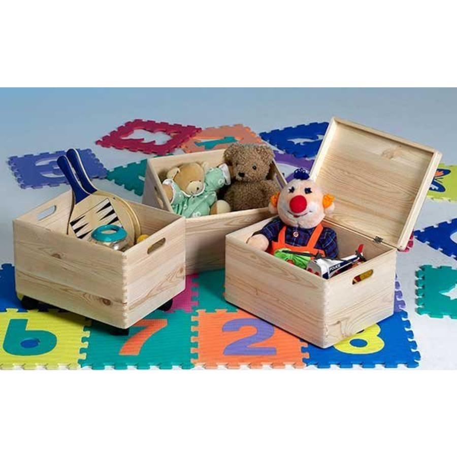 CASIBEL 3 houten opbergkisten op wieltjes
