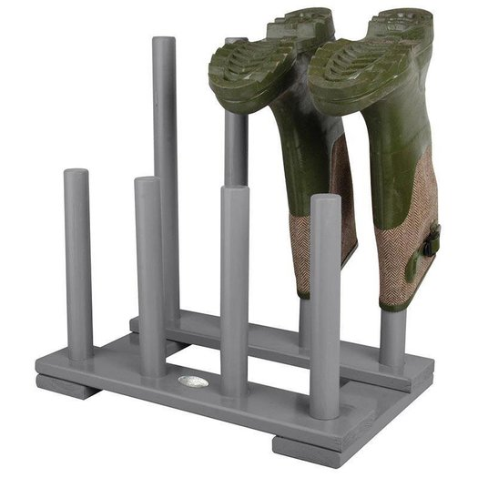 Laarzenrek hout grijs 4 paar laarzen